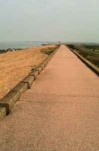 longest bike track in the world - maybe. Kent. Ruth on her coastal walk.