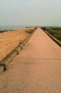 longest bike track in the world - maybe. Kent. Ruth on her coastal walk.
