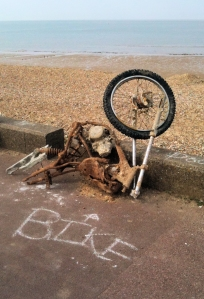 old bike - laughing - ruth's walk around the coast