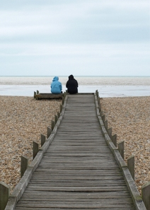 Walkway across shingle, Ruth's coastal walk, Lydd-on-Sea, Kent.