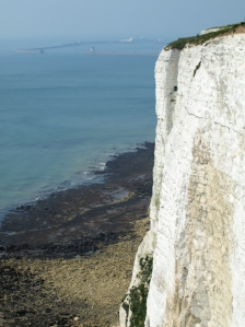 White cliffs, Dover, Kent, Ruth on her walk round the coast.