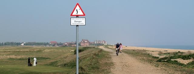 Danger flying golf balls, Sandwich Bay, Ruths walk in Kent.