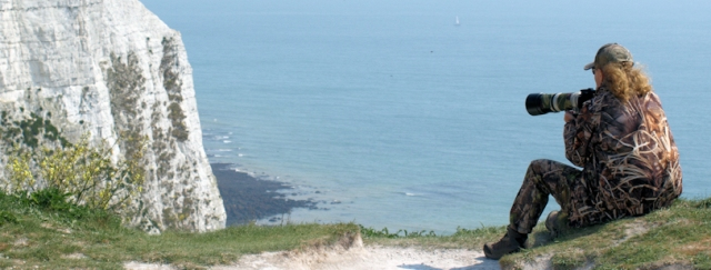 Bird watcher on Dover Cliffs, Ruth's coast walk.