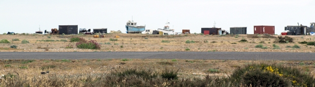 Boats and huts on beach, Dungeness. Ruth's coastal walk.