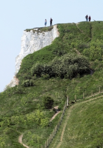 Husband on Dover cliffs, Ruth's coastal walk in Kent
