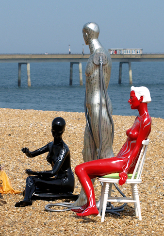 Strange figures, Deal beach. Ruth's coastal walk.