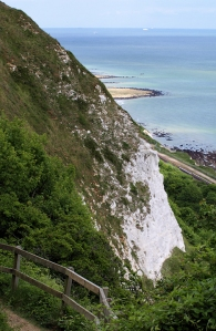 White cliff, path down, East Wear Bay, Kent, Ruths coast walk.