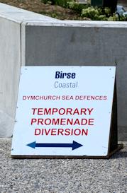 Deviation sign, Dymchurch, Ruth's coastal walk.