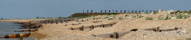 Beach and Palmarsh range, Hythe. Kent. Ruth's coast walk.