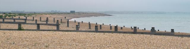 Winchelsea Beach, looking back to Rye Harbour, Ruths coast walk.