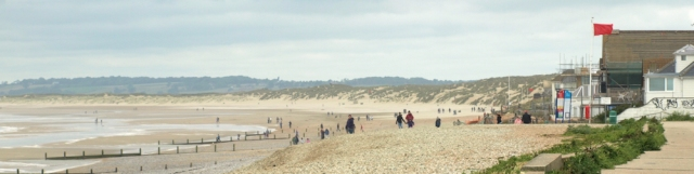 Camber Sands, Sussex, Ruth walks the coast.