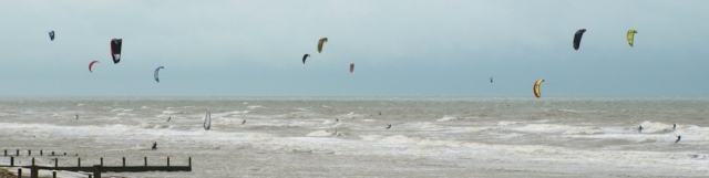 Kite Surfing, Camber Sands, East Sussex. Ruth's coastal walk.