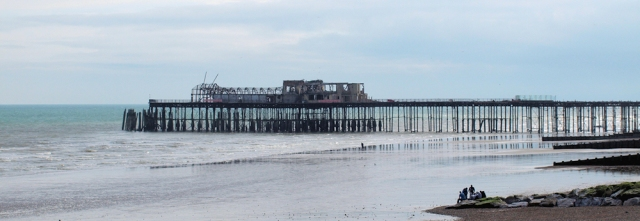 Hastings Pier (burnt) Ruth's coast walk