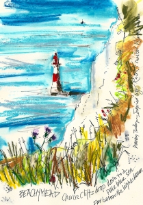 Beachy Head, painting by Tim Baynes - Artist in Residence - Ruth's coastal walk