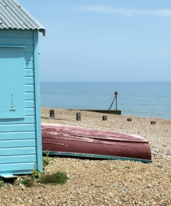Shingle beach with hut, Hastings, Ruth's coastal walk