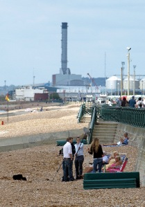 Hove Beach, with power station beyond, Ruth's coastal walk, Sussex.