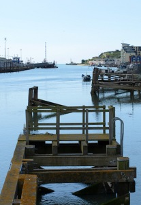 Looking down The Ouse, Newhaven, Ruth in Sussex on her coastal walk.