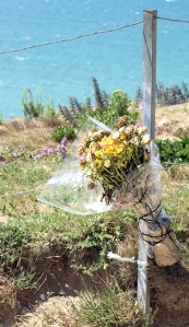 Memorial flowers at Beachy Head, Ruth's coastal walk.