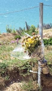 Memorial flowers at Beachy Head, Ruth's coastal walk.