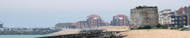 Martello tower 64, approaching Eastbourne, new development. Ruth's coastal walk.