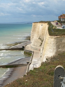 Cliffs and sea wall beneath, Peacehaven, Ruth's walk Sussex coast
