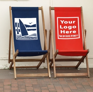 Deckchair with your logo here - images of Eastbourne - Ruth walks round the coast.