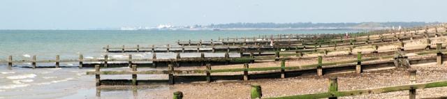 Groynes across the beach, West Kingston, Ruth's coastal walk.