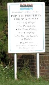 Kingston Gorse Estate warning sign, Ruth's coastal walk, Sussex