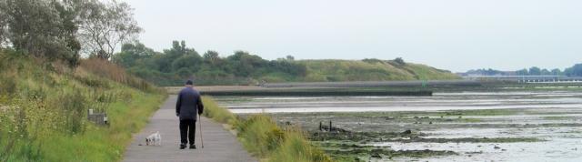 old man walking with dog, Solent Way, Ruth walks around the coast, Hampshire.