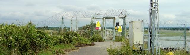 MoD checkpoint, Thorney Island, Ruth's coastal walk.