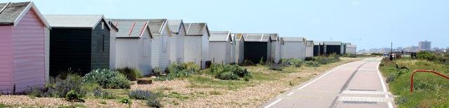 Beach huts and walk, Shoreham, Sussex, Ruth walks round the coast