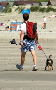 walker with dog, East Wittering, Sussex. Ruth walking round the coast.