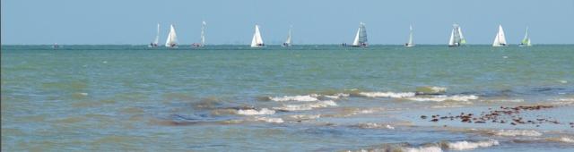 Ships in Sea, off Rustington, Sussex. Ruths coastal walk.