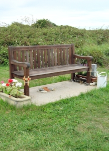 Afghanistan death, memorial seat, Thorney Island, Ruth walks round the coast