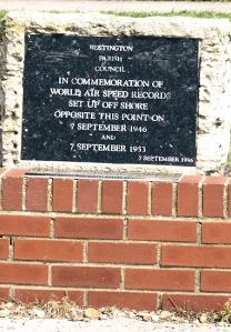 Speed records, plaque, Rustington. Ruth's coast walk in Sussex.