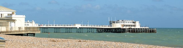 Worthing Pier - Sussex, Ruth on her coastal walk.