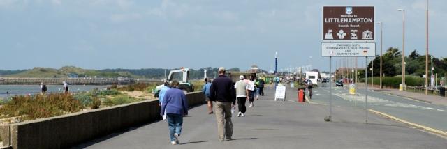 Approach to Littlehampton, Ruth walks round the coast.