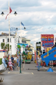 9 Fun fair arriving, Bognor Regis, Ruths coastal walk.