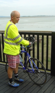 John with bike at pub - Ruth walks around the coast, Portsmouth