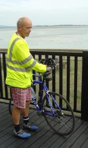 John with bike at pub - Ruth walks around the coast, Portsmouth