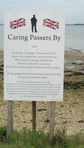 sign - memorial to fallen soldiers, Portsmouth, Ruths coastal walk.