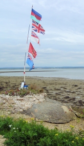 flags - memorial to fallen soldiers, Portsmouth, Ruths coastal walk.