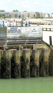 Speed warning. Littlehampton Harbour, Sussex. Ruth's coastal walk.