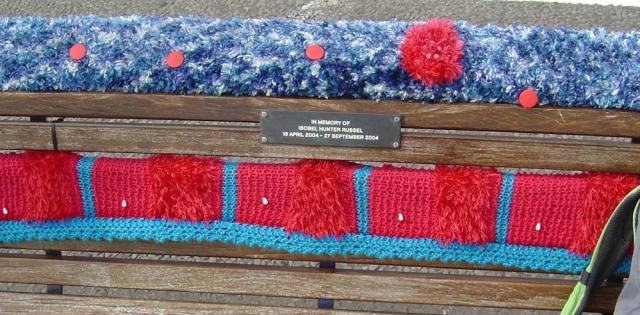 knitted seat, Portsmouth, Ruths coastal walk