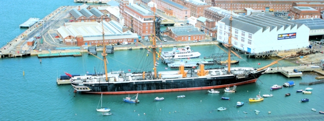 HMS warrior, from Spinnaker Tower in Portsmouth. Ruth's visit