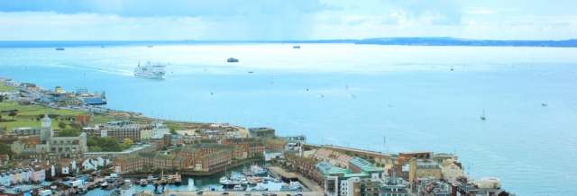 view out to sea, Isle of Wight, from Spinnaker Tower, Portsmouth, Ruth's visit.