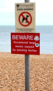 Beware big waves, Portsmouth beach, Ruth's coastal walk.