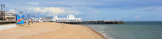 Portsmouth South Parade Pier, Ruth walks round the coastline.