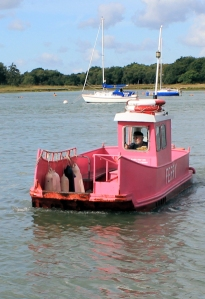 Hamble-Warsash pink ferry, Ruth walks around the coast, Hampshire.