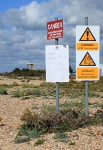 Browndown warning signs, Ruth walks around the coast of the UK, Hants.